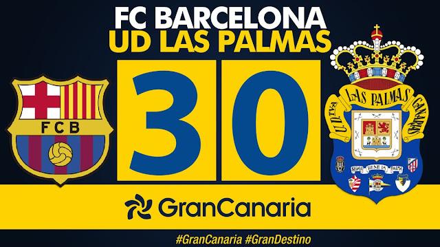 Marcador final 3-0 FC Barcelona - UD Las Palmas