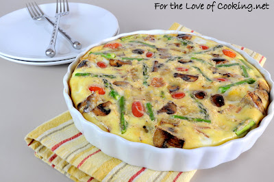 Frittata with Asparagus, Bacon, Asiago, Potatoes, and Caramelized Onions & Mushrooms