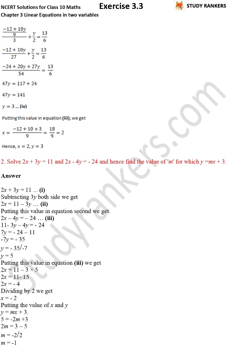 NCERT Solutions for Class 10 Maths Chapter 3 Pair of Linear Equations in Two Variables Exercise 3.3 Part 4