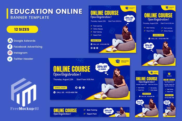Education Online Banner Set Template