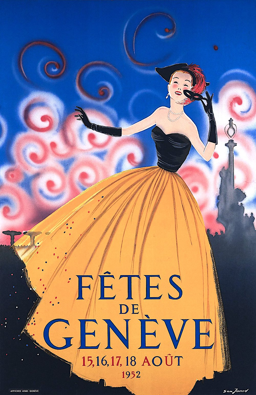 a 1952 Sam Junod color illustration of a laughing woman removing her mask, Fetes de Geneve
