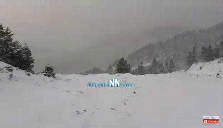 Χιόνισε την νύχτα στην Ορεινή Ναυπακτία-Σε ετοιμότητα ο Δήμος Ναυπακτίας
