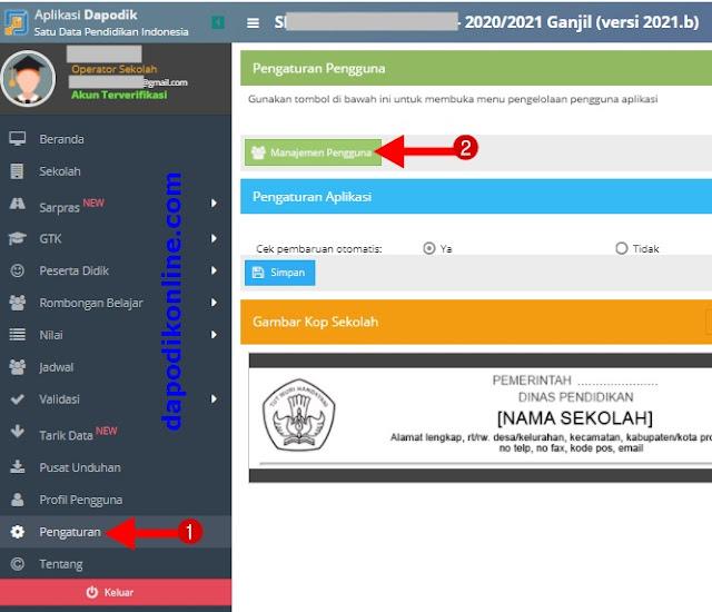 Klik Menu Pengaturan dan Manajemen Pengguna Dapodik 2021 b