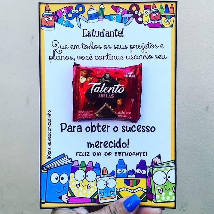 Lembrancinha para o dia do estudante com o chocolate talento