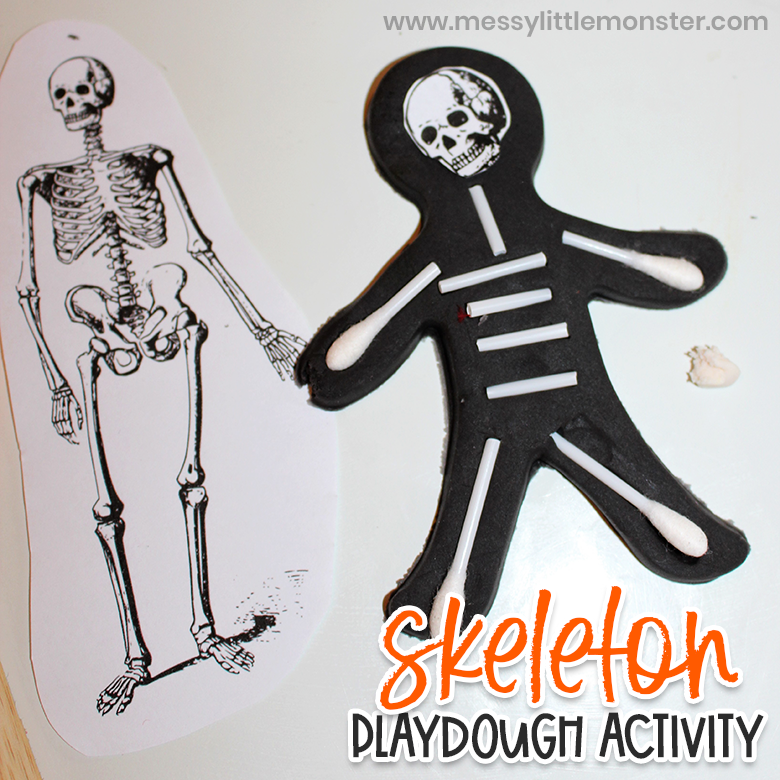 Playdough skeleton activity for kids