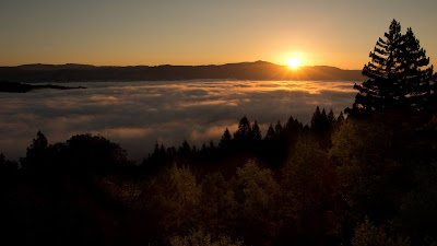 Sunset, Mountains, Forest, Trees, Clouds, Dusk