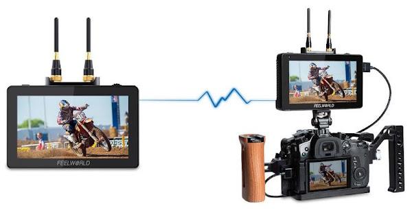 Nova solução Feelworld com monitor transmissor e recetor para transmissão de imagens através de Wi-Fi