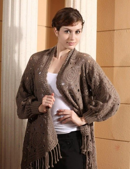 Shawl with sleeves   knitting and crochet