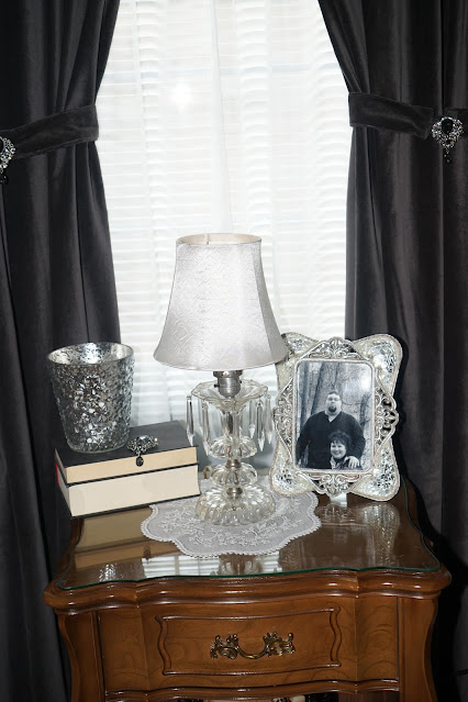 Vintage glass lamp, picture, stacked books, jewelry
