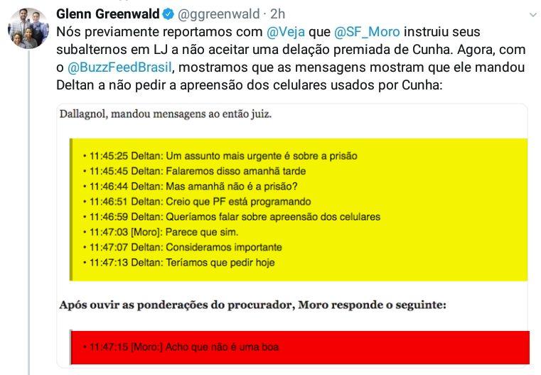 Tweete de Greenwald com as novas revelações da Vaza Jato