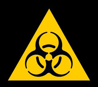 A biohazard symbol.