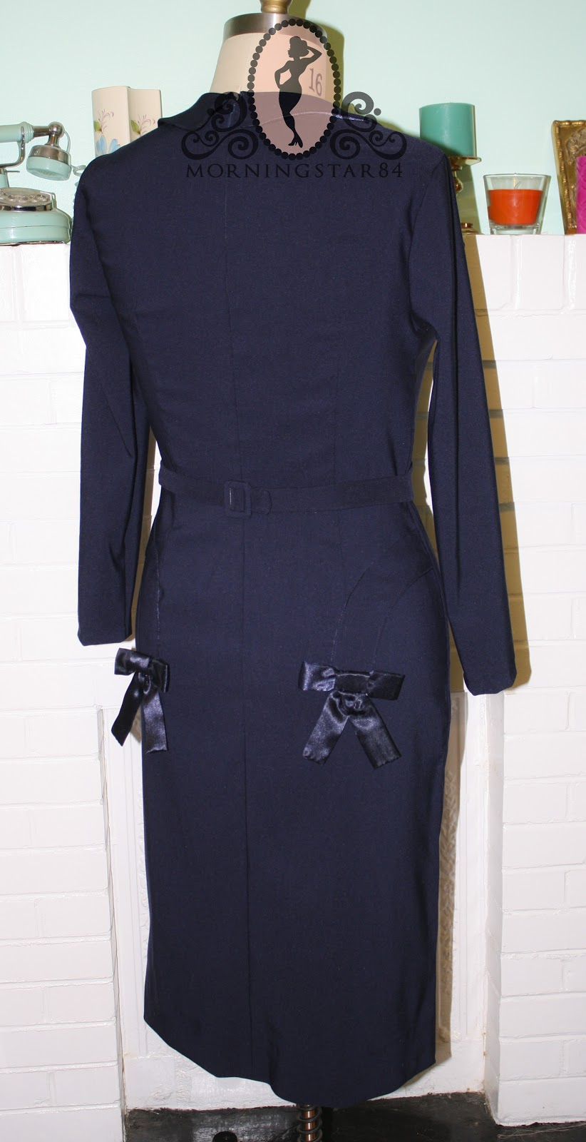 Morningstar Pinup The Girl Cant Help It Navy Blue Dress