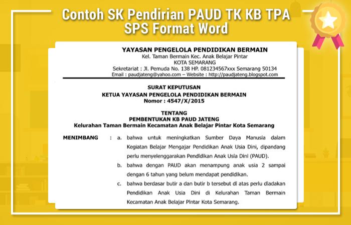 Contoh SK Pendirian PAUD TK KB TPA SPS Format Word
