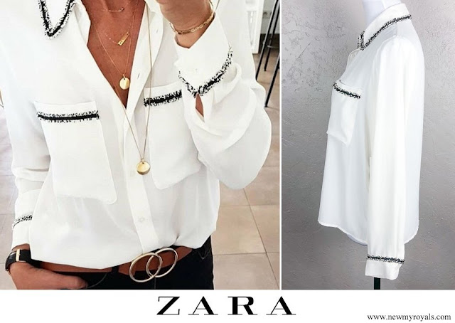 Zara shirt embroidered collar, pocket and cuffs fastening front long sleeves