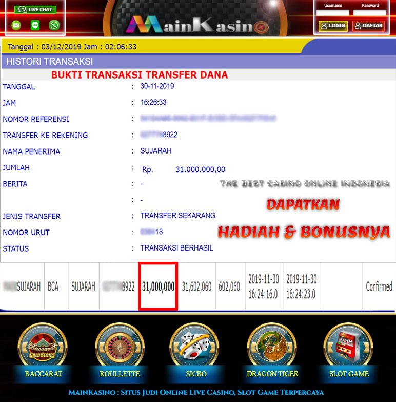 Selamat Kepada Member Setia MAIN KASINO Withdraw RP 31.000.000