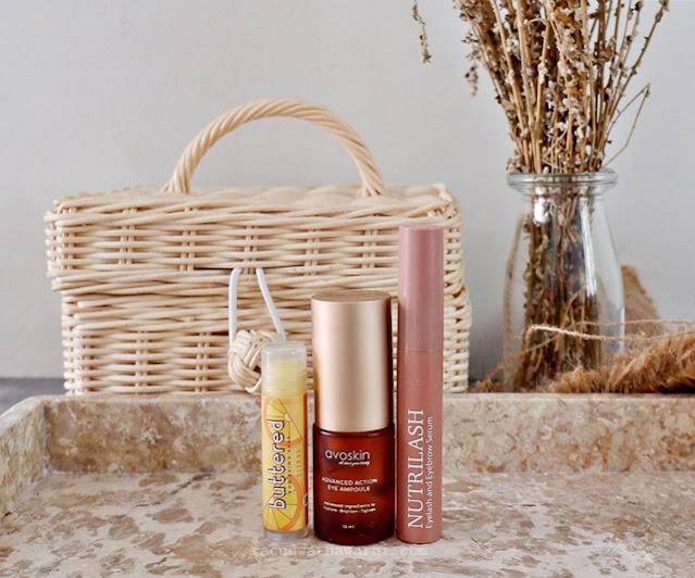 For Skin's Sake Lip Balm & Nutrishe Nutrilash Eyelash & Eyebrow Serum &  Avoskin Advanced Action Eye Ampoul