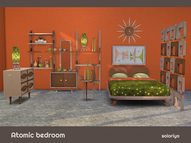 Atomic Bedroom Атомная Спальня для The Sims 4 Атомная спальня. Набор имеет 4 цветовых вариации и включает в себя 14 предметов. Предметы в наборе: - кровать - тумбочка - комод - декор стен - настенные часы - стеллаж - зеркало - светлый стол - перегородеп - пять видов настольных скульптур. Автор: soloriya