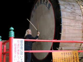 Pat Dunlap Beating Drum Nebuta Museum Aomori Japan