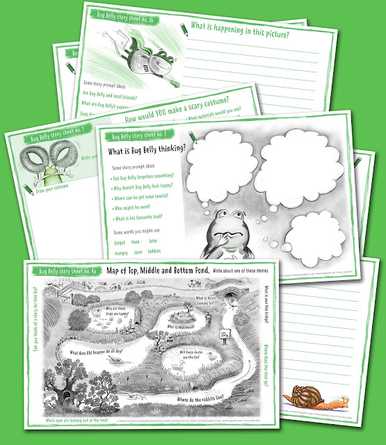 Image showing a selection of English activity sheets for Bug Belly the frog
