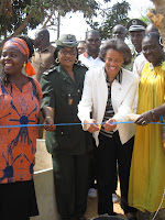 US Ambassador to Senegal Marcia S. Bernicat cuts the ribbon inaugurating the well at the Hann youth prison.