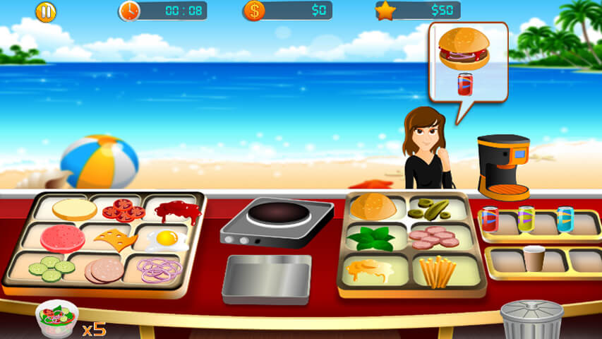 تحميل لعبة طبخ مطعم البرجر والبيع للزبائن