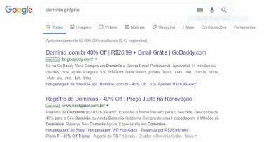 Anúncios na 1ª página do Google