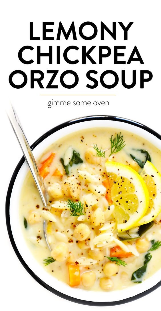 Lemony Orzo Chickpea Soup