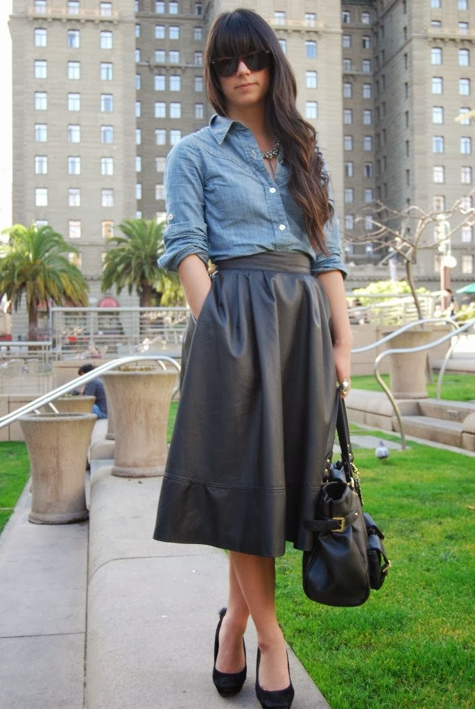 leather skirts, chambray shirts and leather handbag