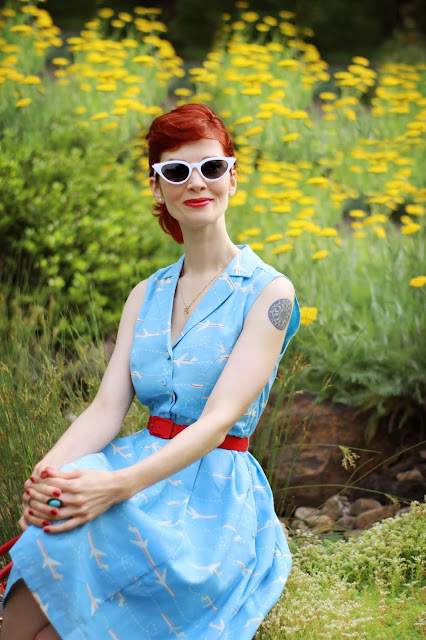 It's an Inspired Taste Shirt Dress in Airplanes from ModCloth