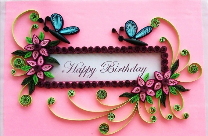 Handmade quilling paper birthday greeting cards 2015 for Best quilling designs