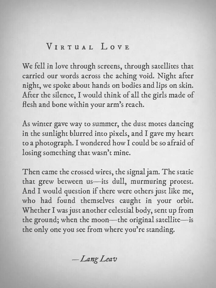 Fidgety Fingers: VIRTUAL LOVE BY LANG LEAV Lang Leav Quotes On Friendship And Love
