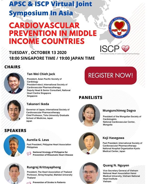 "APSC & ISCP Virtual Joint Symposium in Asia ""Cardiovascular Prevention in Middle Incone Countries"""