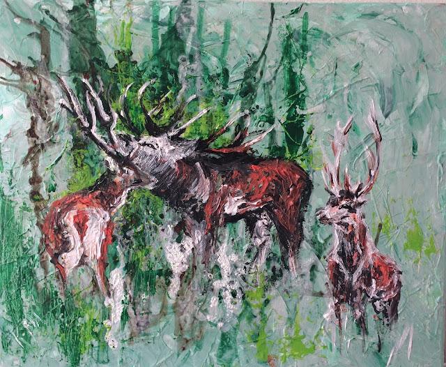 peinture acrylique représentant des cerfs et peinte par Karine Babel