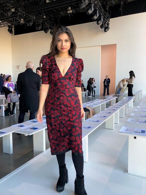Kelly Fountain wearing Saloni at Badgley Mischka Fashion Show during New York Fashion Week