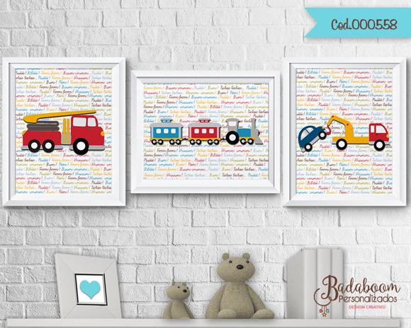 Meios de Trasnposrte, poster, posters, posteres, arte digital, kit digital, arte personalizada, para imprimir, bombeiro, trem, reboque