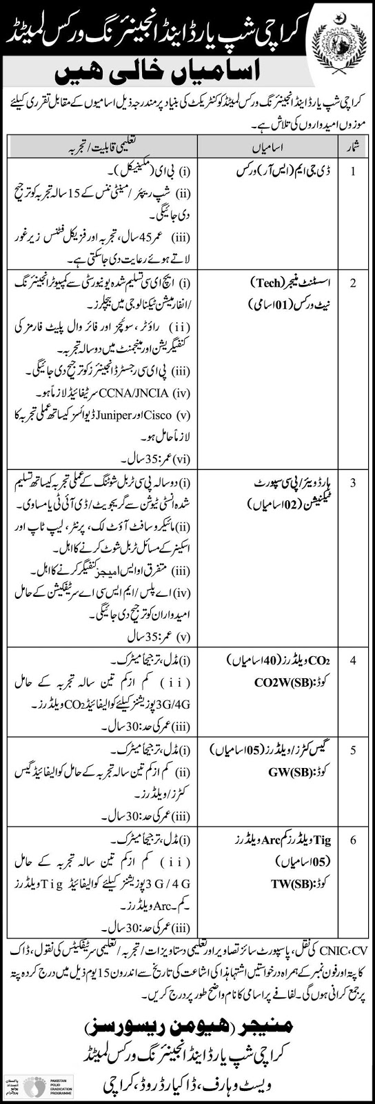 Karachi Shipyard and Engineering Works Ltd Jobs 2020 Latest