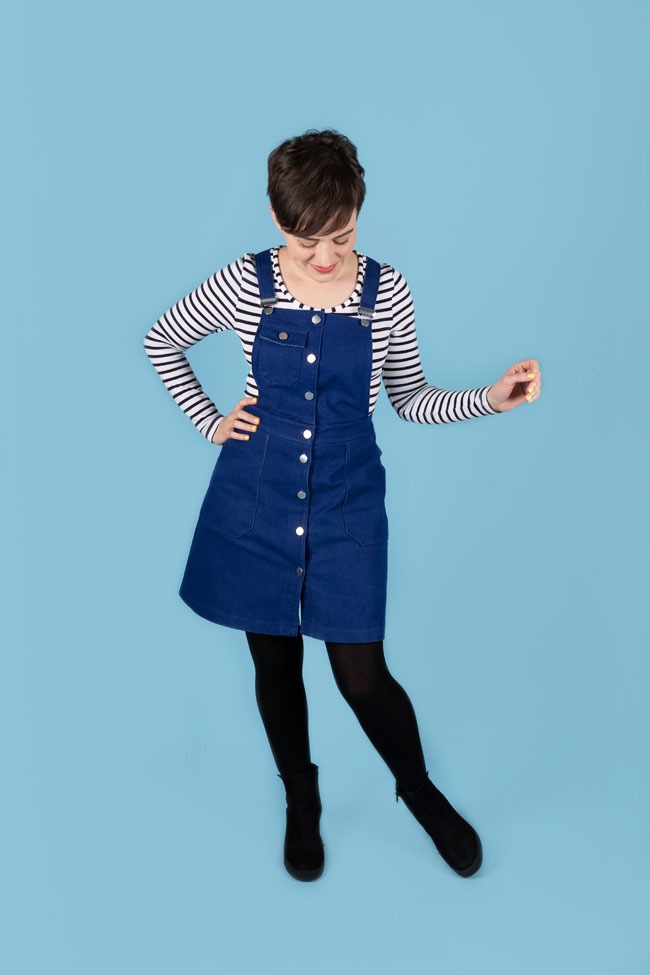 Tilly's classic denim Bobbi pinafore - sewing pattern by Tilly and the Buttons