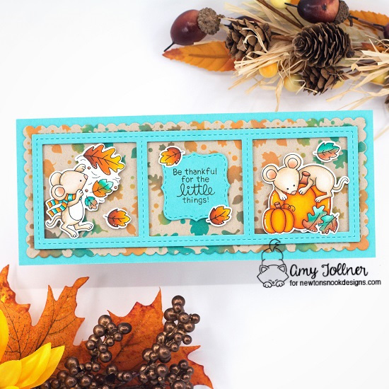 Be thankful for the little things by Amy features Autumn Mice, Slimline Frames & Portholes, Slimeline Frames & Windows, and Falling Leaves by Newton's Nook Designs; #inkypaws, #newtonsnook, #autumncards, #cardmaking