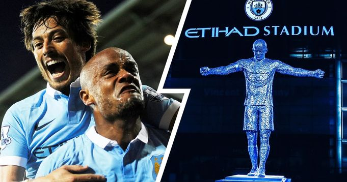 Manchester City unveil Vincent Kompany and David Silva statue at Etihad