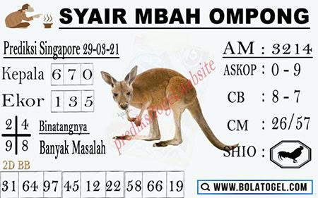 Syair Mbah Ompong SGP Senin 29-03-2021