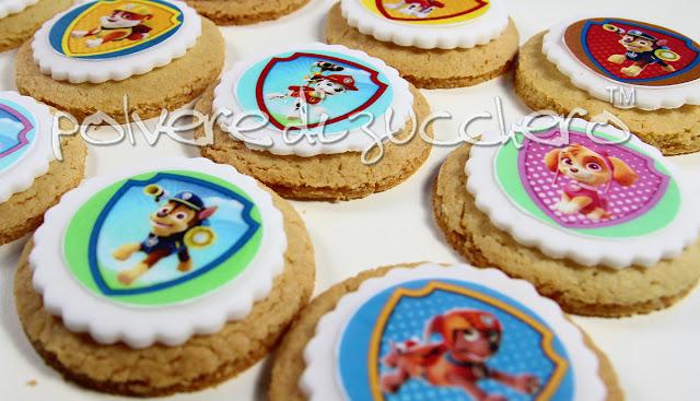 paw patrol biscotti cookies cialde pasta di zucchero cake design polvere di zucchero