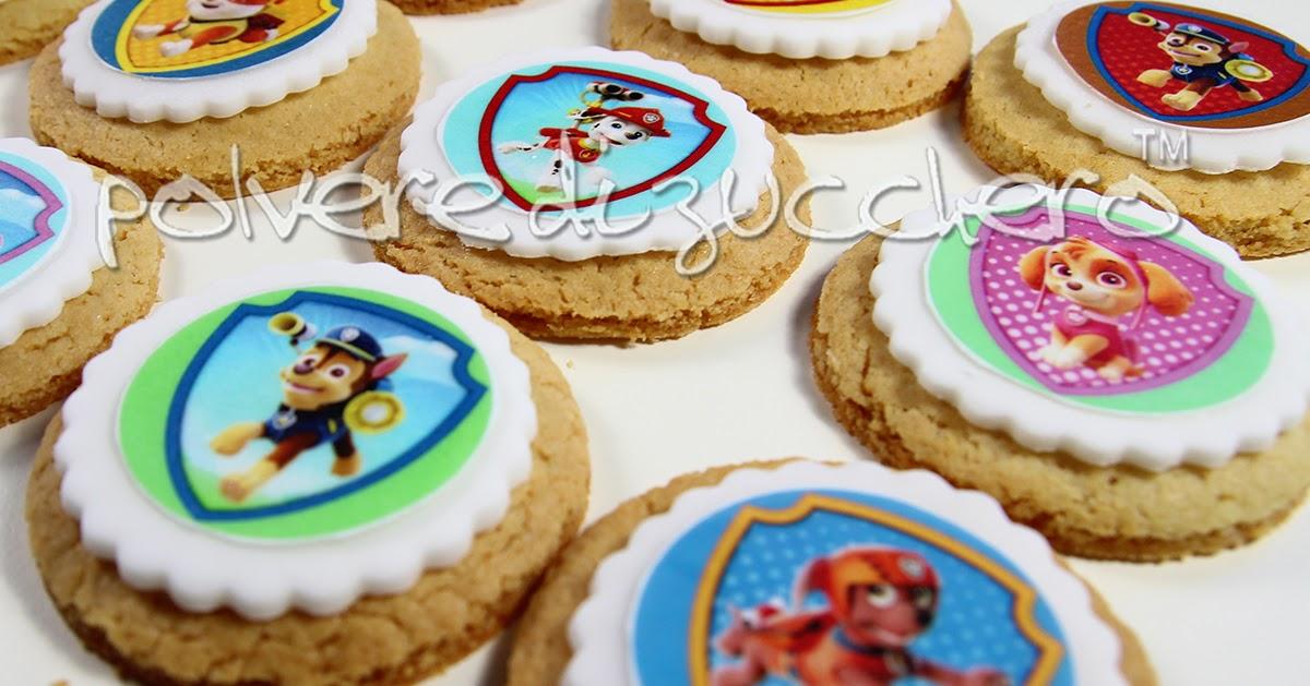 Biscotti decorati paw patrol con cialda e pasta di for Decorazione torte e cupcake