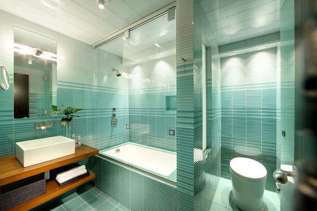 Aqua tiled bathroom