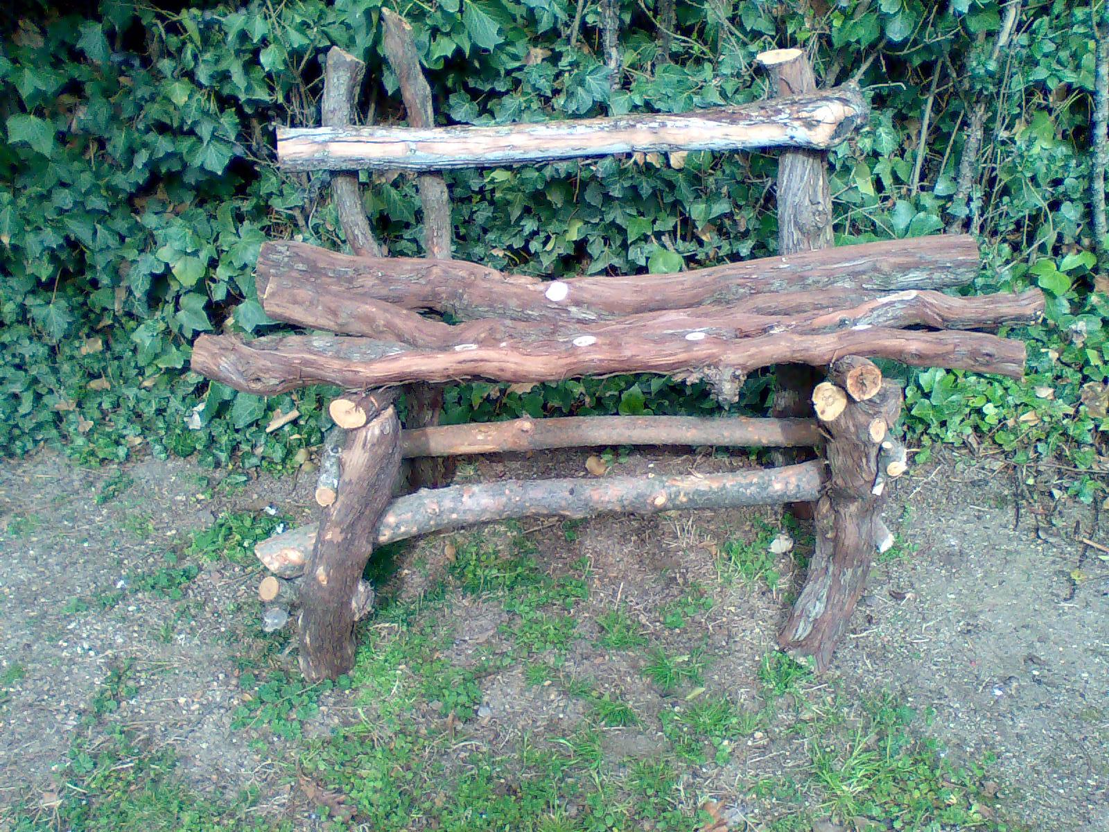 Como hacer un banco rstico con troncos y palos de un