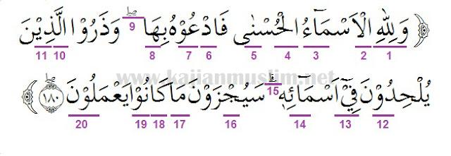 Hukum Tajwid Dalam Al-Quran Surat Al-A'raf Ayat 180