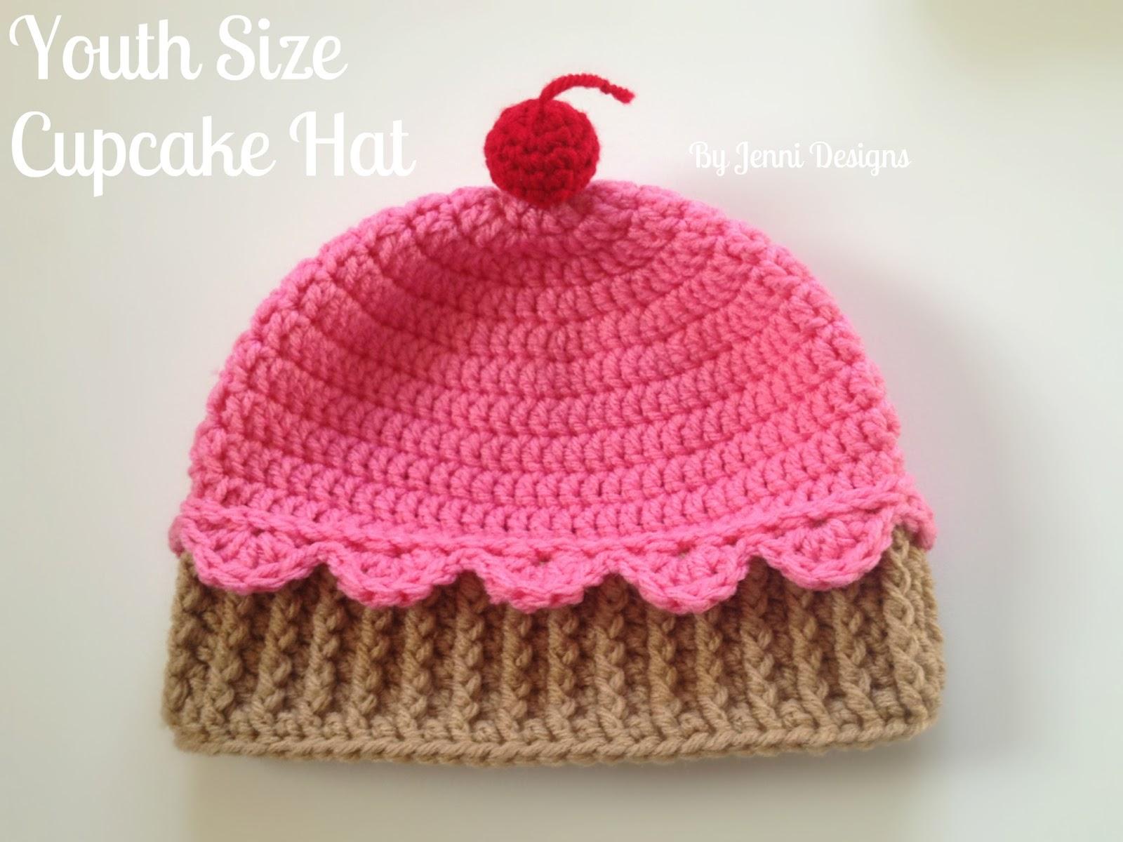 By Jenni Designs Free Crochet Pattern Youth Size Crochet Cupcake Hat