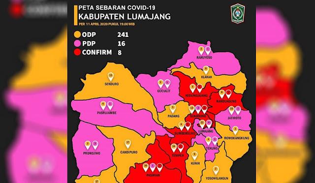 Peta sebaran covid-19 di Lumajang