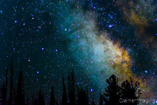 Cramer Imaging's fine art photograph of the Milky Way glowing in the eastern sky with foreground trees in silhouette