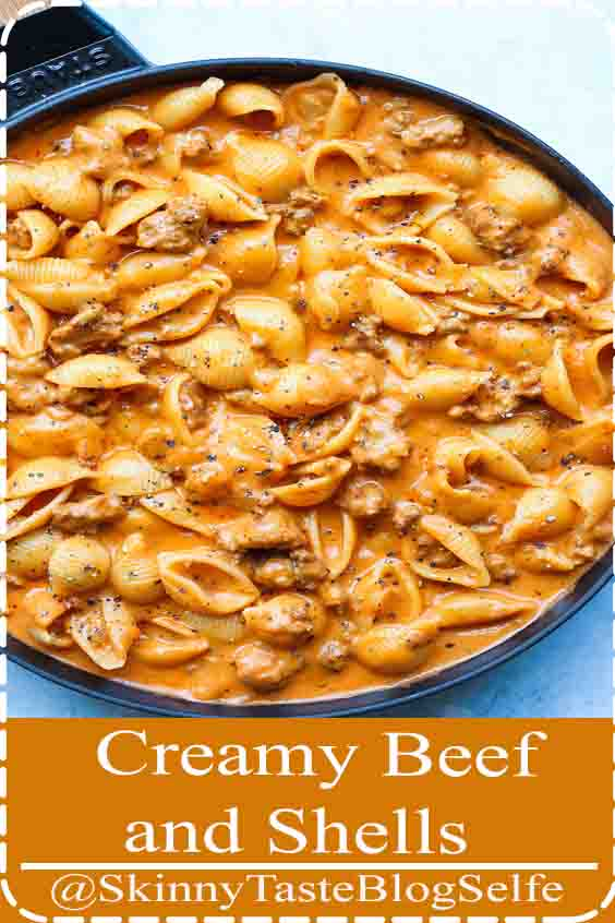 4.8 | ★★★★★ Creamy Beef and Shells - A quick-easy ground beef recipe, this is a pasta dish that will be on your dinner table all week long! So creamy and so comforting