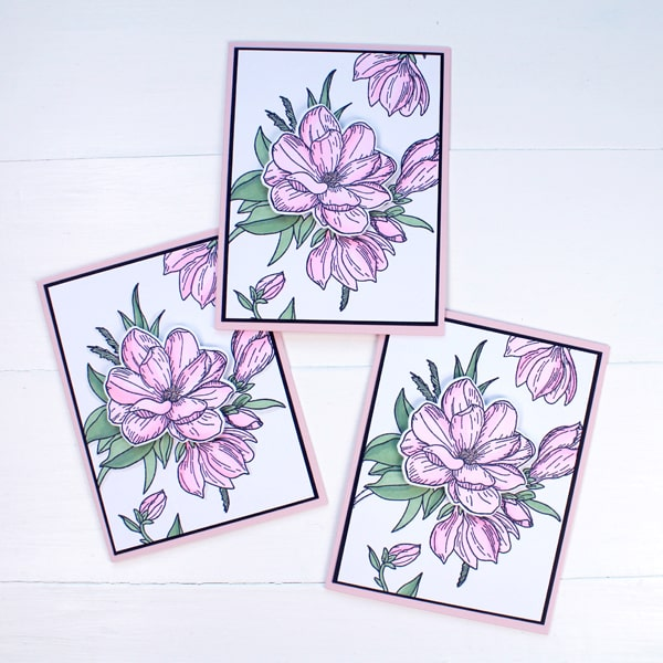 Make a stack of floral cards to have on hand for happy mail, sympathy cards, get well soon cards, birthday, anniversary or wedding cards. These flower cards can cover all occasions.